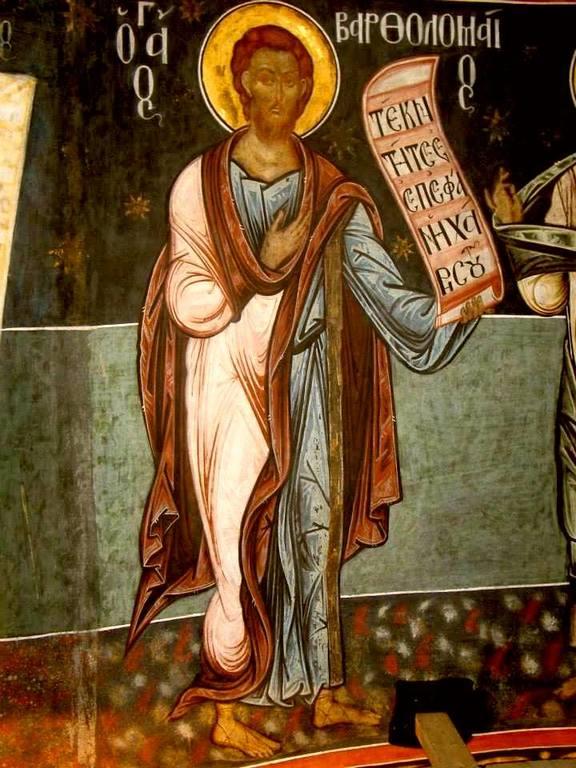 Святой Апостол Варфоломей. Фреска церкви Святого Георгия в Сучаве, Румыния. 1534 год.