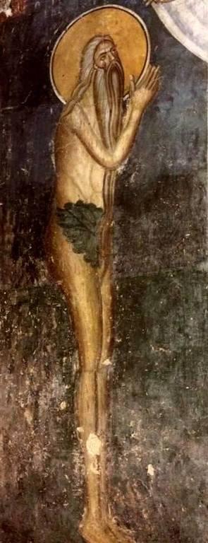 Святой Преподобный Онуфрий Великий. Фреска церкви Богоматери Одигитрии в монастыре Печская Патриархия, Косово, Сербия. XIV век.
