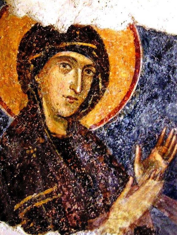 Богоматерь Агиосоритисса. Фреска церкви Святых Николая и Пантелеимона (Боянской церкви) близ Софии, Болгария. 1259 год.