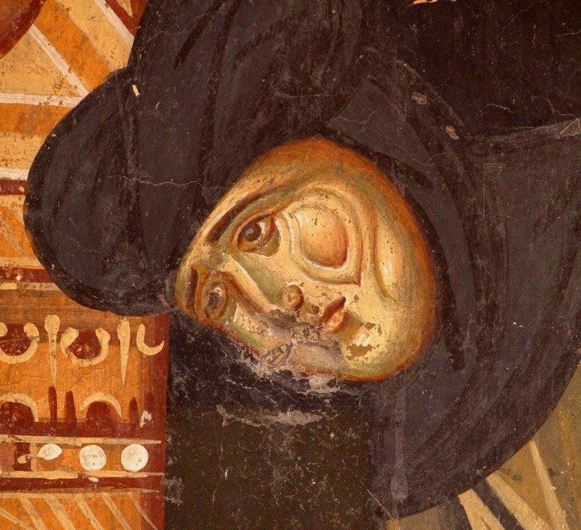 Святая Преподобная Анастасия, мать Святителя Саввы Сербского, предстоящая Младенцу Христу и Пресвятой Богородице. Фреска церкви Богородицы в монастыре Студеница, Сербия. 1568 год. Фрагмент.