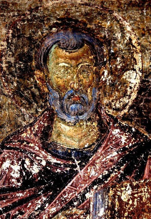 Святой Преподобный Сампсон Странноприимец. Фреска церкви Вознесения Господня в монастыре Милешева (Милешево), Сербия. XIII век.