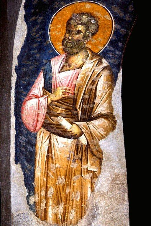 Святой Апостол Пётр. Фреска церкви Богородицы Левишки в Призрене, Косово, Сербия. Около 1310 - 1313 годов. Иконописцы Михаил Астрапа и Евтихий.