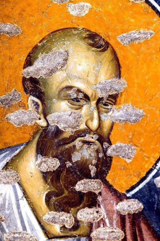 Святой Апостол Павел. Фреска церкви Богородицы Левишки в Призрене, Косово, Сербия. Около 1310 - 1313 годов. Иконописцы Михаил Астрапа и Евтихий.
