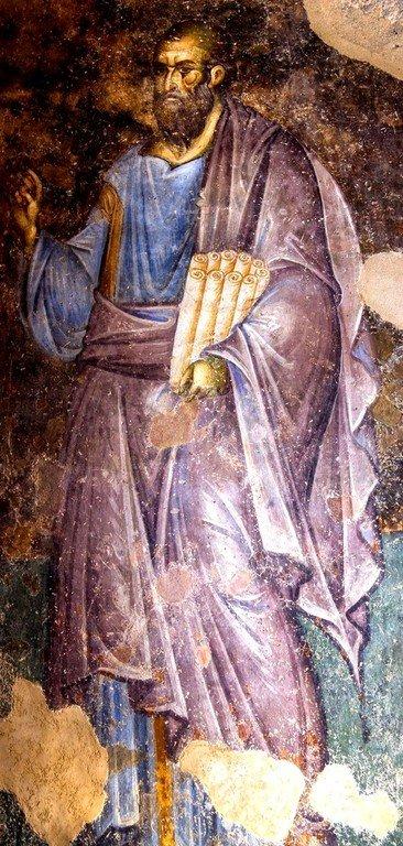 Святой Апостол Павел. Фреска церкви Святой Троицы в монастыре Сопочаны, Сербия. 1265 год.