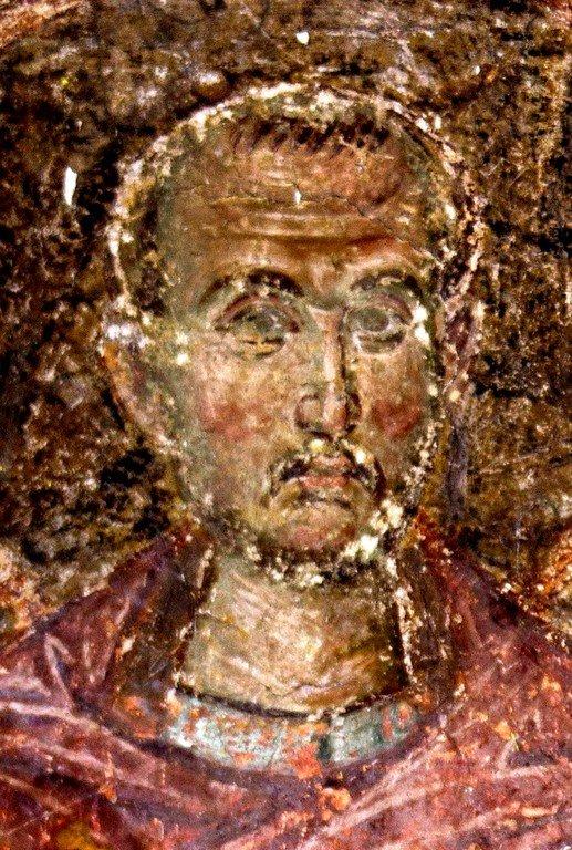 Святой Бессребреник Косма. Фреска церкви Вознесения Господня в монастыре Милешева (Милешево), Сербия. XIII век.