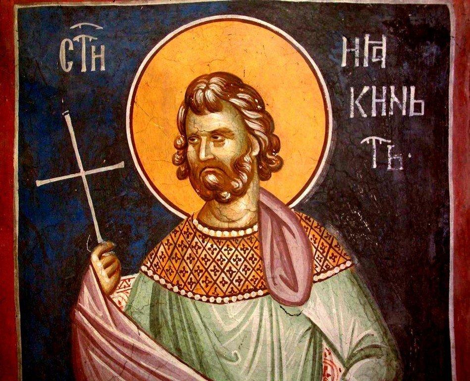 Святой Мученик Иакинф Римский. Фреска монастыря Грачаница, Косово, Сербия. Около 1320 года.