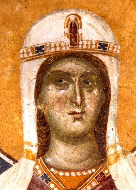 Святая Мученица Кириакия (Неделя) Никомидийская. Фреска монастыря Грачаница, Косово, Сербия. Около 1320 года.