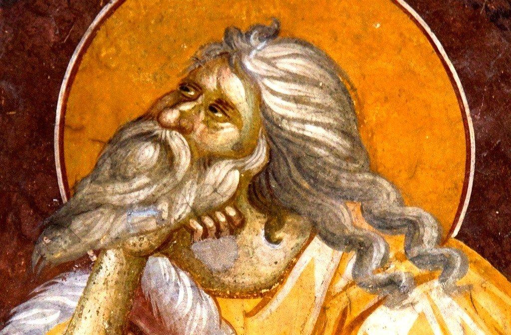 Святой Пророк Божий Илия в пустыне. Фреска монастыря Грачаница, Косово, Сербия. Около 1320 года. Лик.
