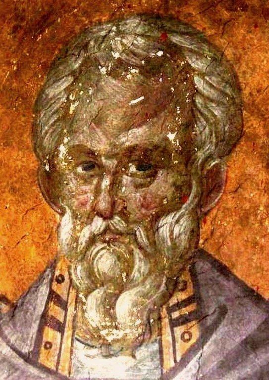 Священномученик Ермолай, иерей Никомидийский. Фреска монастыря Грачаница, Косово, Сербия. Около 1320 года.