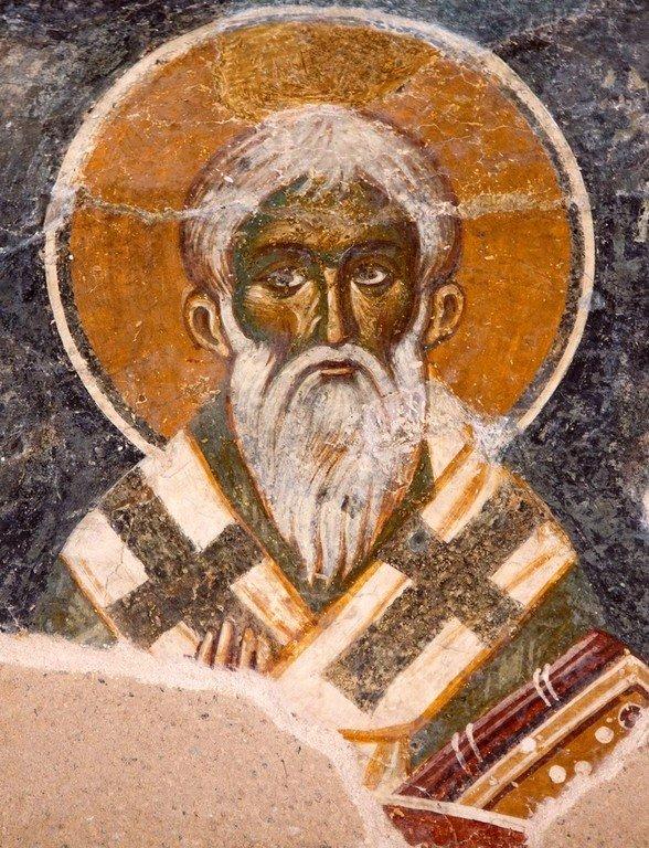 Священномученик Ермолай, иерей Никомидийский. Фреска церкви Святой Троицы в монастыре Сопочаны, Сербия. XIII век.
