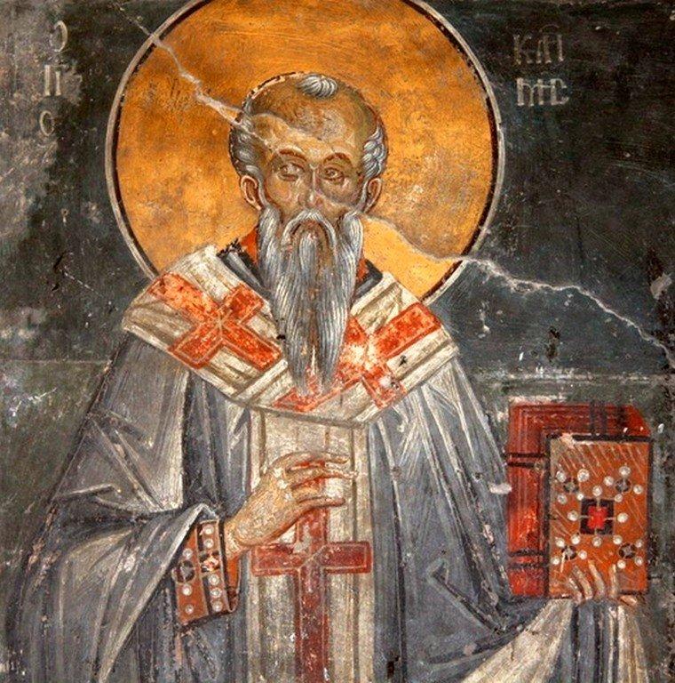 Святой Равноапостольный Климент, Епископ Охридский. Фреска церкви Мали Свети Климент в Охриде, Македония. XIV век.
