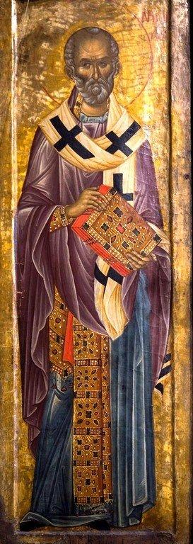Святитель Николай, Архиепископ Мир Ликийских, Чудотворец. Икона в монастыре Высокие Дечаны, Косово, Сербия. Середина XIV века.