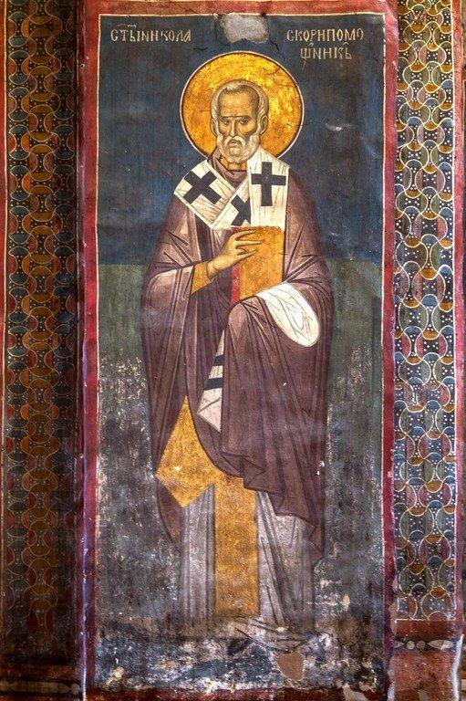 Святитель Николай, Архиепископ Мир Ликийских, Чудотворец. Фреска монастыря Высокие Дечаны, Косово, Сербия. Около 1350 года.