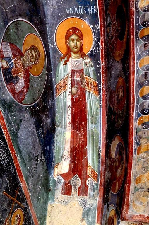 Святой Праведный Евдоким Каппадокиянин. Фреска церкви Святых Иоакима и Анны (Королевской церкви) в монастыре Студеница, Сербия. 1314 год.