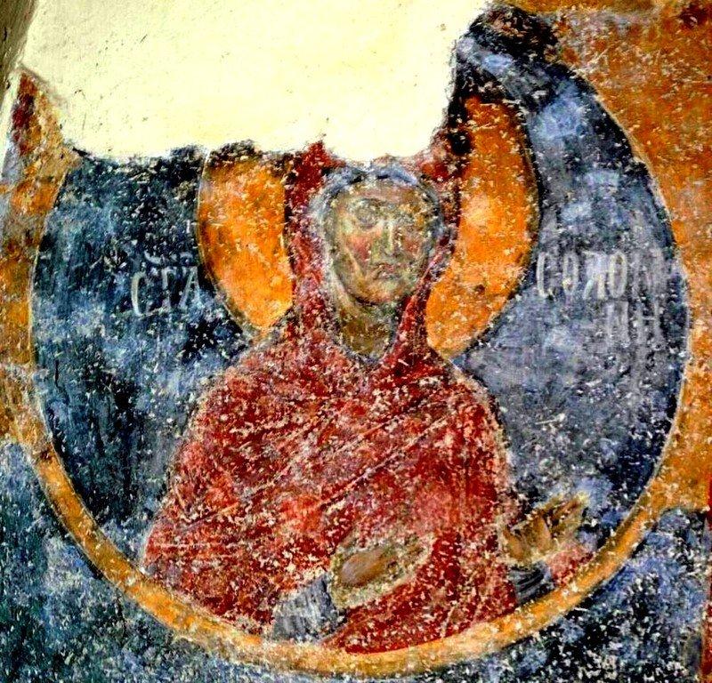 Святая Соломония, матерь Маккавеев. Фреска церкви Святой Троицы в монастыре Сопочаны, Сербия. 1265 год.