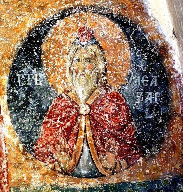 Святой Елеазар, учитель Маккавеев. Фреска церкви Святой Троицы в монастыре Сопочаны, Сербия. 1265 год.