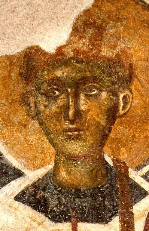 Святой Апостол от Семидесяти, Первомученик и Архидиакон Стефан. Фреска церкви Святой Троицы в монастыре Сопочаны, Сербия. XIII век.