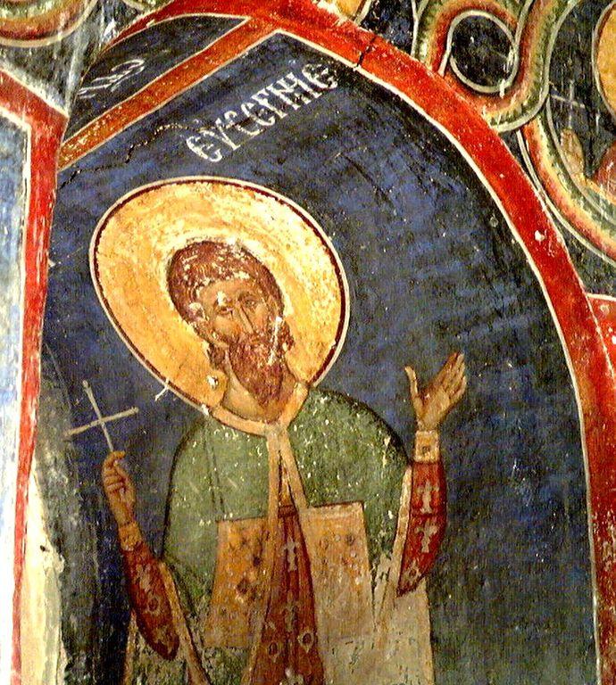 Святой Мученик Евсигний Антиохийский. Фреска церкви Вознесения Господня в монастыре Раваница, Сербия. До 1389 года.