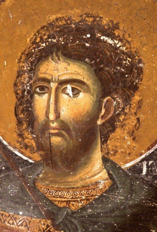 Святой Мученик Роман Римский. Фреска церкви Святого Николая в Прилепе, Македония. 1298 год.
