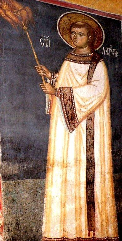 Святой Мученик Архидиакон Лаврентий Римский. Фреска монастыря Воронец, Румыния.