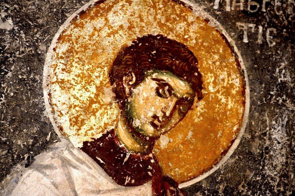 Святой Мученик Архидиакон Лаврентий Римский. Фреска церкви Вознесения Господня в монастыре Жича, Сербия. 1309 - 1316 годы.