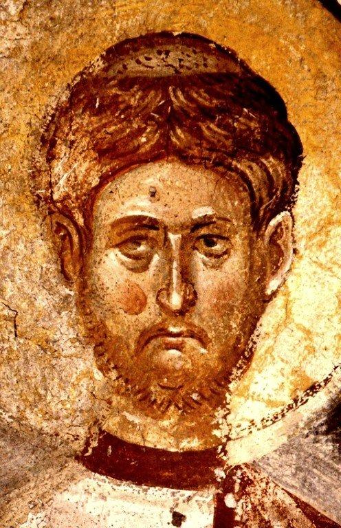 Святой Мученик Архидиакон Евпл. Фреска монастыря Высокие Дечаны, Косово, Сербия. Около 1350 года.