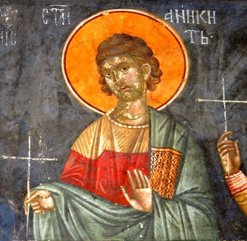 Святой Мученик Аникита Никомидийский. Фреска монастыря Грачаница, Косово, Сербия. Около 1320 года.