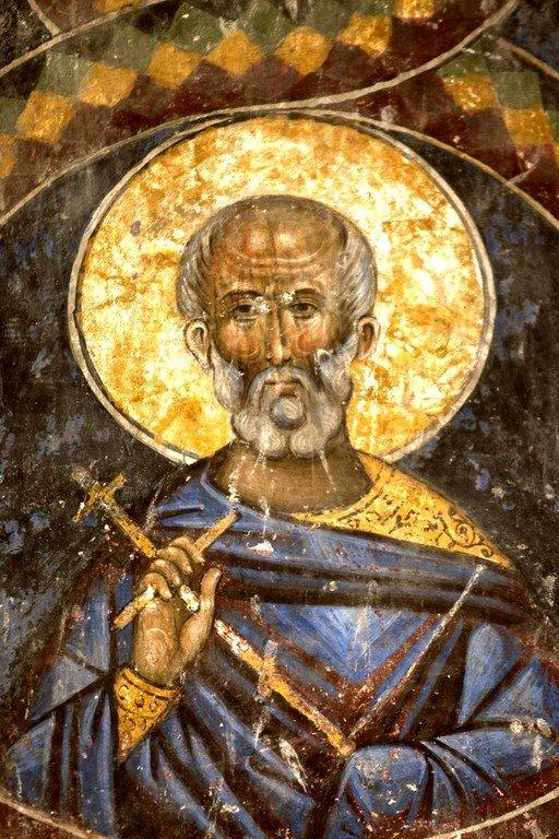 Святой Мученик. Фреска церкви Святой Троицы в монастыре Манасия (Ресава), Сербия. До 1418 года.