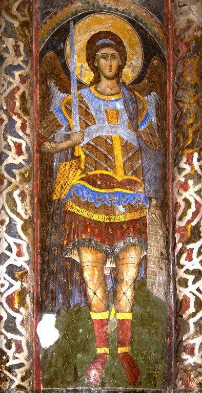 Архангел Михаил. Фреска церкви Святой Троицы в монастыре Манасия (Ресава), Сербия. До 1418 года.