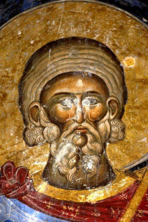 Святой Мученик Андрей Стратилат. Фреска церкви Святой Троицы в монастыре Манасия (Ресава), Сербия. До 1418 года.