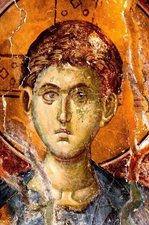 Христос Эммануил. Фреска церкви Святого Димитрия в монастыре Печская Патриархия, Косово, Сербия. 1322 - 1324 годы.