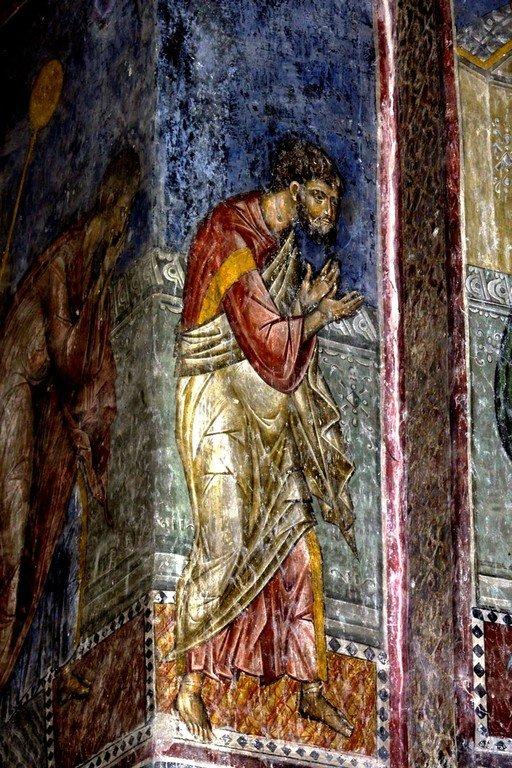 Евхаристия (Причащение Апостолов). Фреска церкви Святой Троицы в монастыре Манасия (Ресава), Сербия. До 1418 года. Фрагмент.