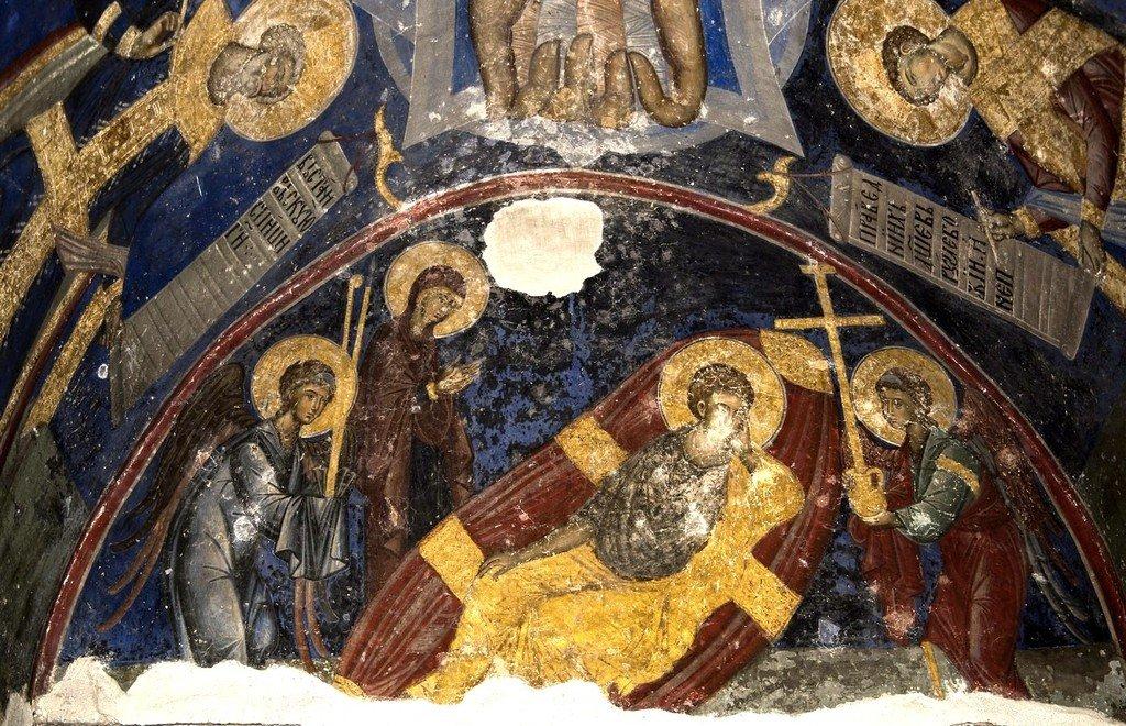 Христос Анапесон (Спас Недреманное Око). Фреска церкви Святой Троицы в монастыре Манасия, Сербия. До 1418 года.