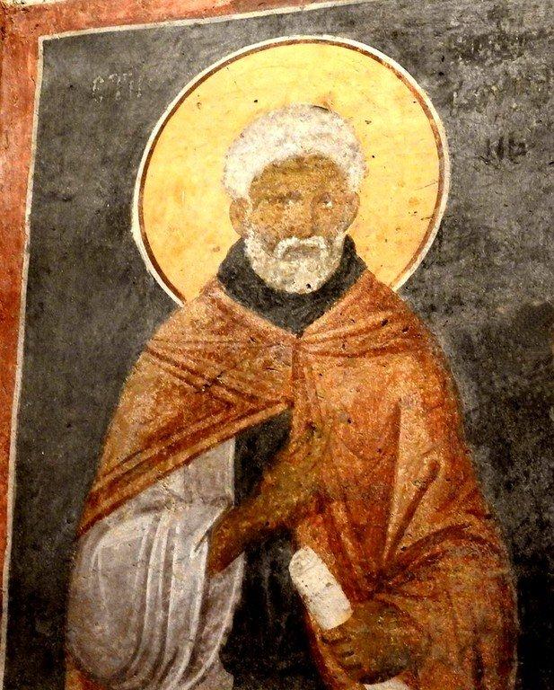 Святой Преподобный Моисей Мурин. Фреска монастыря Грачаница, Косово, Сербия. Около 1320 года.