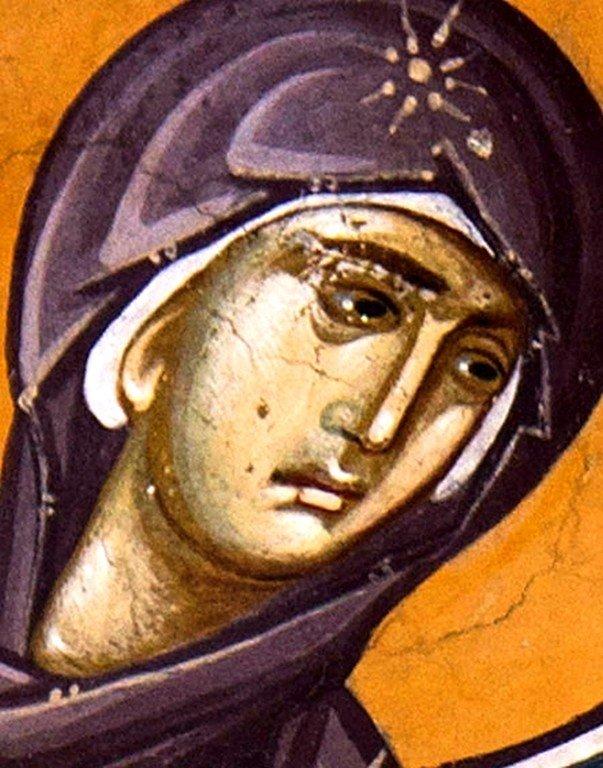 Богоматерь Агиосоритисса. Фреска церкви Богоматери Одигитрии в монастыре Печская Патриархия, Косово, Сербия. 1330-е годы.