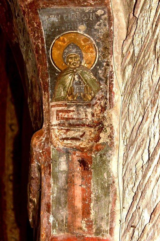 Святой Преподобный Симеон Столпник. Фреска церкви Святых Апостолов в монастыре Печская Патриархия, Косово, Сербия. XIV век.
