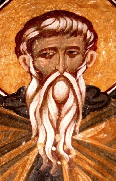 Святой Преподобный Феоктист Палестинский, спостник Преподобного Евфимия Великого. Фреска монастыря Святого Иоанна Богослова в Поганово, Сербия. 1499 год.