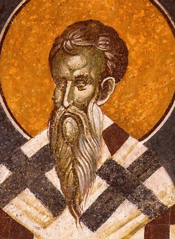 Священномученик Анфим, Епископ Никомидийский. Фреска монастыря Грачаница, Косово, Сербия. Около 1320 года.