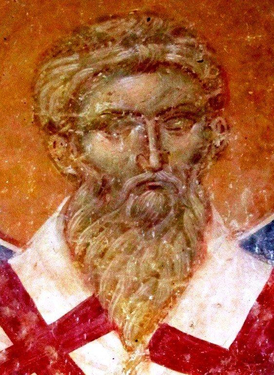 Священномученик Вавила, Епископ Антиохийский. Фреска монастыря Матейче, Македония. 1356 - 1360 годы.