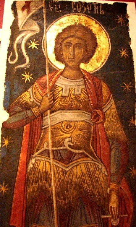 Святой Мученик Созонт Помпеопольский. Фреска из монастыря Куртя де Арджеш, Румыния. 1526 год. Иконописец Добромир.