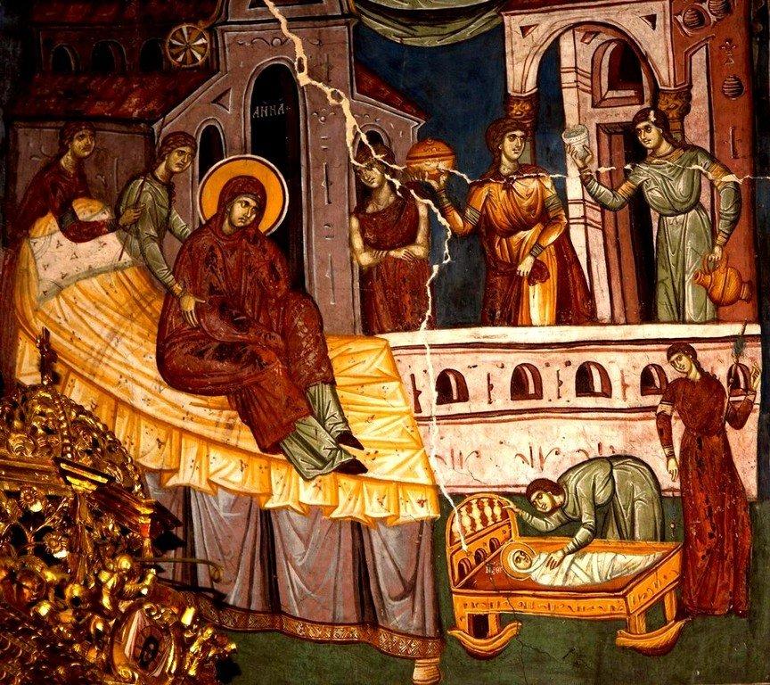 Рождество Пресвятой Богородицы. Фреска церкви Богоматери Одигитрии в монастыре Печская Патриархия, Косово, Сербия. 1330-е годы.