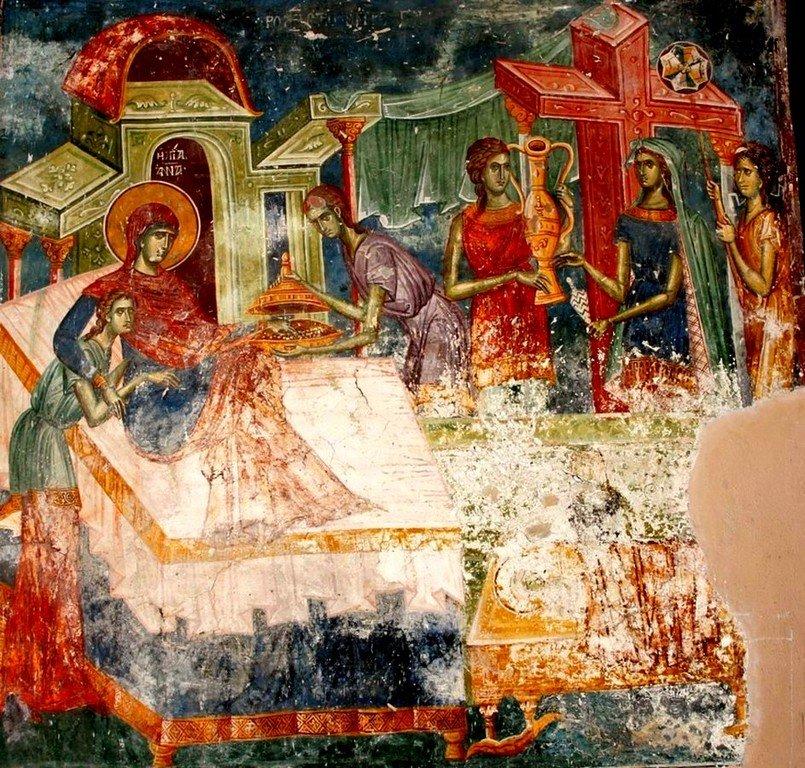Рождество Пресвятой Богородицы. Фреска церкви Святого Димитрия в монастыре Печская Патриархия, Косово, Сербия. 1322 - 1324 годы.