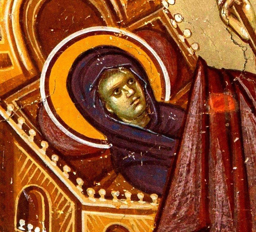 Рождество Пресвятой Богородицы. Фреска церкви Святых Иоакима и Анны (Королевской церкви) в монастыре Студеница, Сербия. 1314 год. Фрагмент. Младенец Мария.