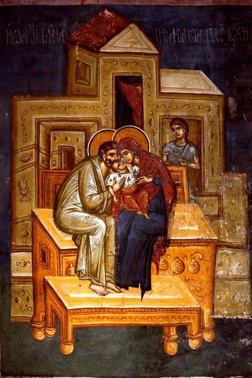 Святые Праведные Иоаким и Анна, родители Пресвятой Богородицы. Фреска церкви Богоматери Одигитрии в монастыре Печская Патриархия, Косово, Сербия. 1330-е годы.