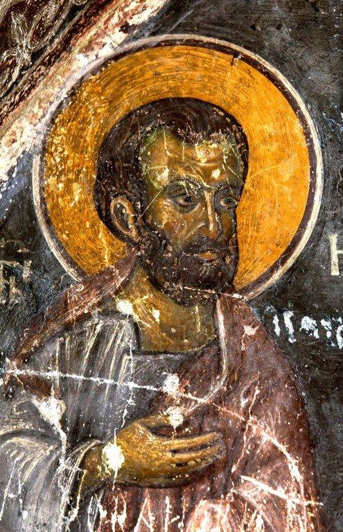 Святой Праведный Иоаким, отец Пресвятой Богородицы. Фреска капеллы Краля Драгутина в монастыре Джурджеви Ступови, Сербия. 1282 - 1283 годы.