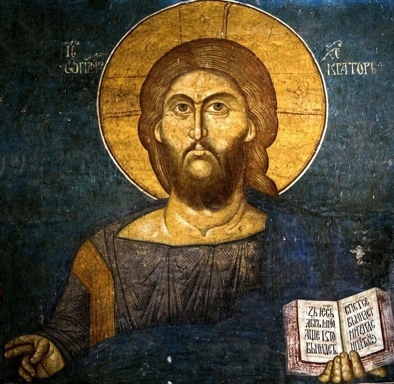 Христос Пантократор. Фреска монастыря Высокие Дечаны, Косово, Сербия. Около 1350 года.