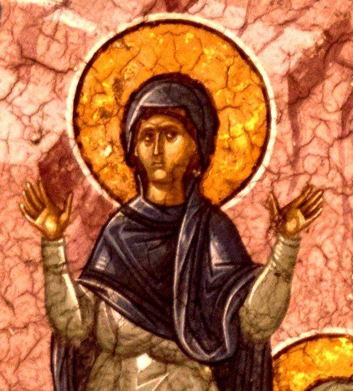 Мученичество Святой Евфимии Всехвальной. Фреска монастыря Высокие Дечаны, Косово, Сербия. Около 1350 года. Фрагмент.
