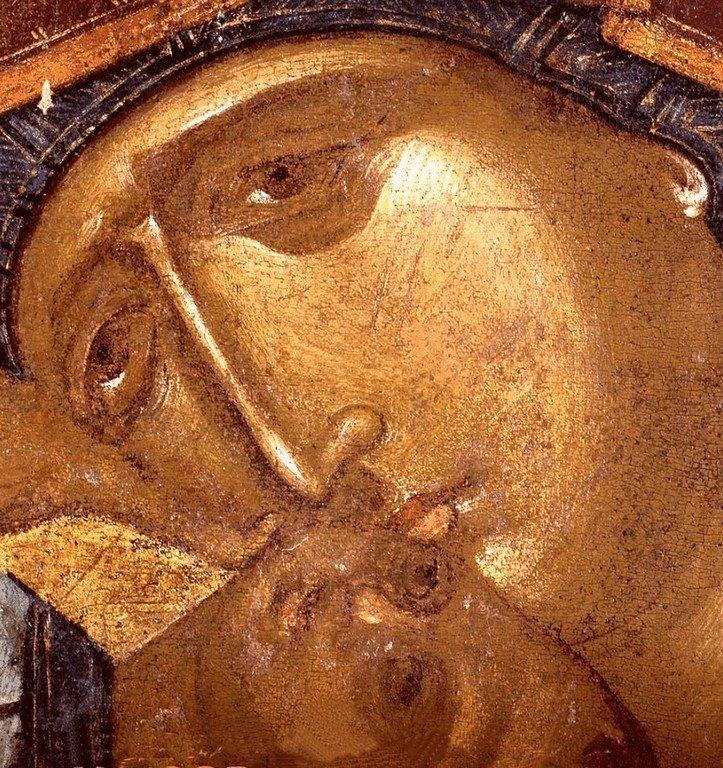 """Икона Божией Матери """"Пелагонитисса"""". Сербия, вторая половина XIV века. Монастырь Высокие Дечаны, Косово, Сербия. Лики."""