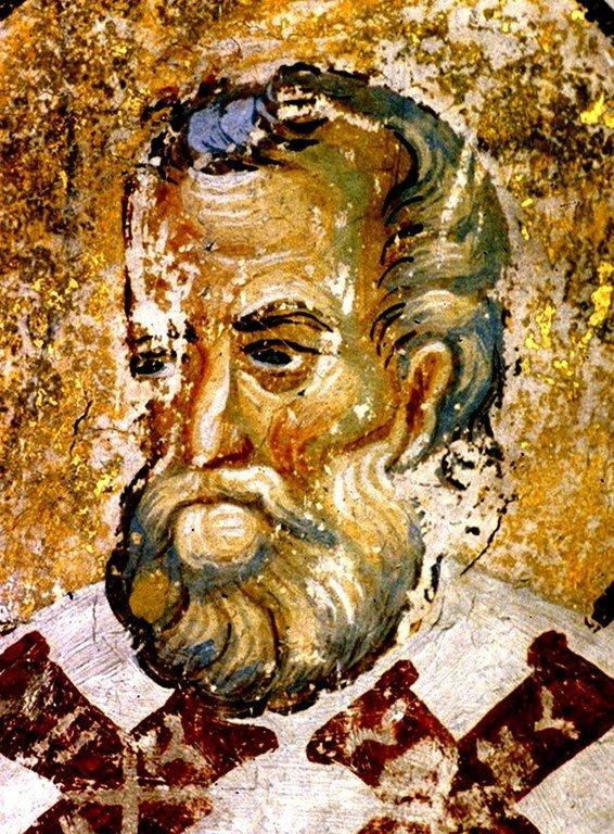 Святой Преподобный Евмений, Епископ Гортинский. Фреска церкви Вознесения Господня в монастыре Раваница, Сербия. До 1389 года.