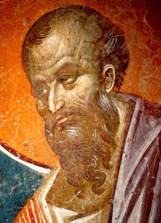 Святой Апостол Павел. Фреска церкви Святого Никиты в Чучере близ Скопье, Македония. Около 1316 года. Иконописцы Михаил Астрапа и Евтихий.